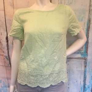 J. CREW Light Green Embroidered Scallop Linen Top